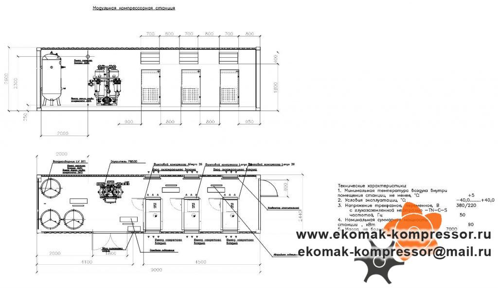 Вариант 1 - модульная компрессорная станция Ekomak